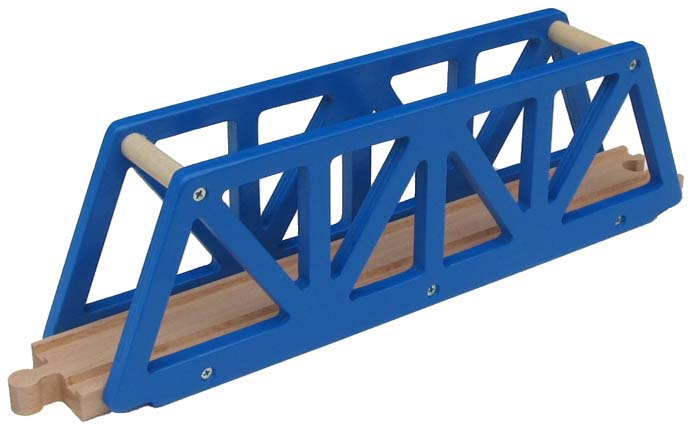Blue Truss Bridge Wooden Track Choo Choo Track Toy Co