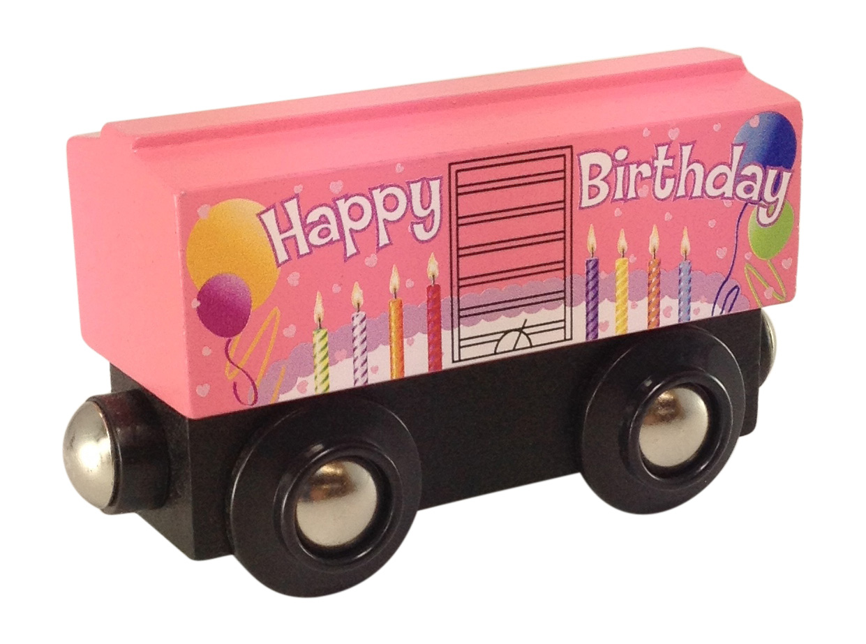 Pink Birthday Boxcar Wooden Train Choo Choo Track Toy Co