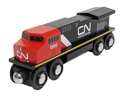 Front view of Canadian National Diesel Locomotive wooden train