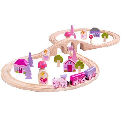 Bigjigs Pink Figure of 8 Train Set