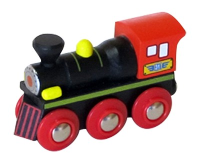 Black & Red Wooden Train Steam Engine