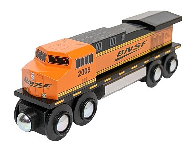 Front view of BNSF Diesel Locomotive Wooden Train