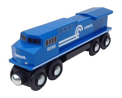 Front view of Conrail Diesel Locomotive wooden train