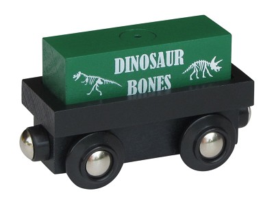 "Cargo Car wooden train with ""Dinosaur Bones"" magnetic cargo"