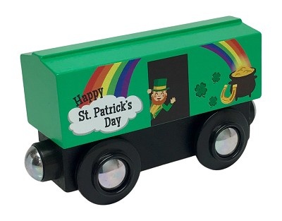 St. Patrick's Day Boxcar wooden train
