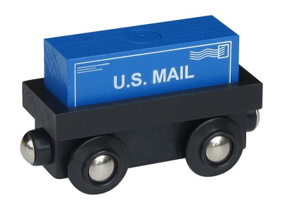 "Cargo Car wooden train with ""U.S. Mail"" magnetic cargo"
